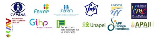 APAJH, APF France handicap, CFPSAA, FAS, Fédération nationale des associations de retraités, Fehap, FFAIMC, Fnath, GIHP, Unafam, Unapei, Uniopss